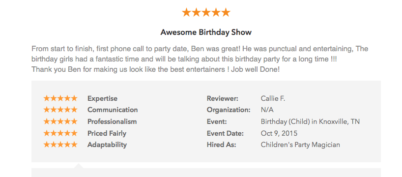 Gigsalad Five Star Review for Las Vegas Comedy Magician Ben Young Who Performed at a Children's Birthday Party